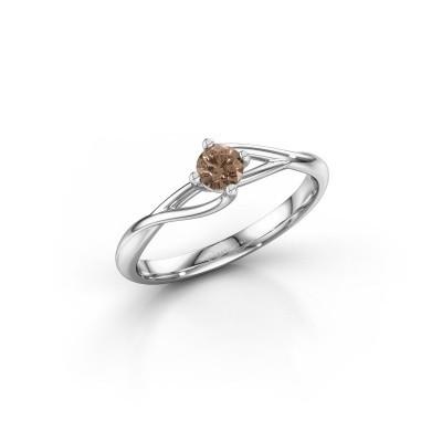 Foto van Verlovingsring Paulien 585 witgoud bruine diamant 0.20 crt
