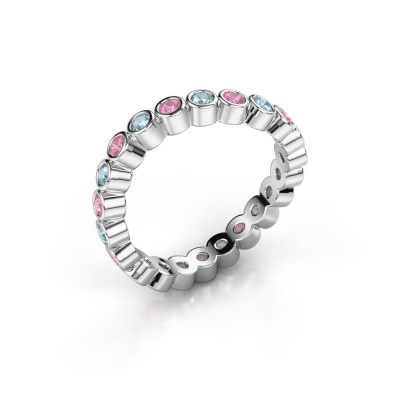 Ring Liz 925 zilver roze saffier 2 mm