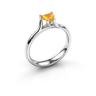 Verlobungsring Dewi Heart 585 Weißgold Citrin 5 mm