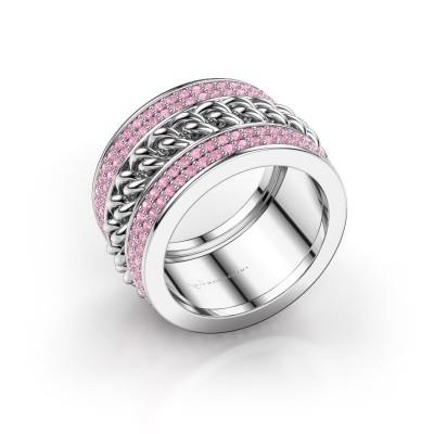 Foto van Ring Jayda 585 witgoud roze saffier 1.2 mm