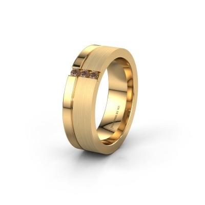 Trouwring WH0327L16B 585 goud bruine diamant ±6x2 mm