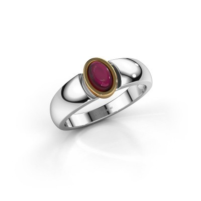 Ring Tonneke 585 witgoud granaat 6x4 mm