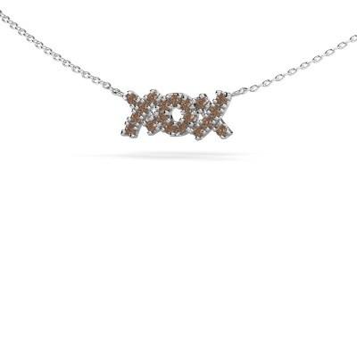Collier XoX 925 argent diamant brun 0.285 crt