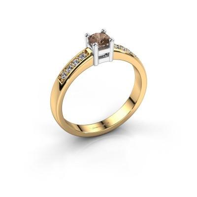 Bague de fiançailles Eline 2 585 or jaune diamant brun 0.32 crt