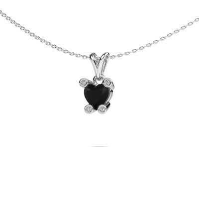 Foto van Ketting Cornelia Heart 950 platina zwarte diamant 0.98 crt