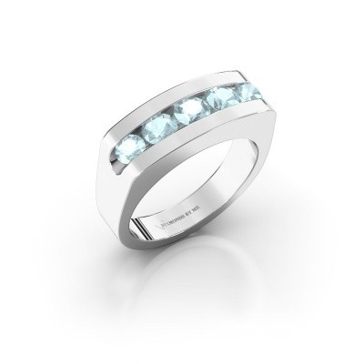 6506f32e96625 White gold aquamarine men's rings | Design your own | DiamondsByMe