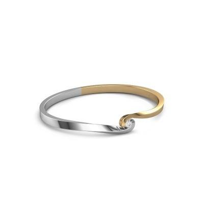 Bracelet jonc Sheryl 585 or jaune diamant synthétique 0.20 crt