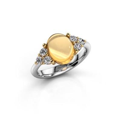 Ring Clarice 585 witgoud citrien 10x8 mm