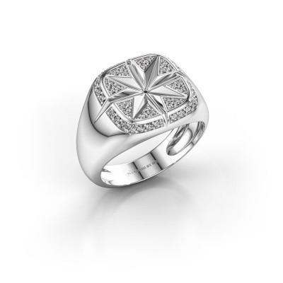 Photo de Bague pour homme Ravi 375 or blanc diamant synthétique 0.35 crt