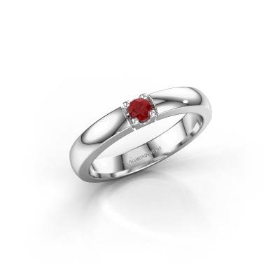 Engagement ring Rianne 1 585 white gold ruby 3 mm