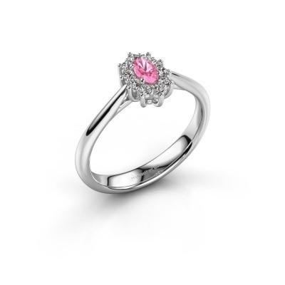 Foto van Verlovingsring Leesa 1 585 witgoud roze saffier 5x4 mm