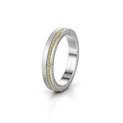 Wedding ring WH2214L15BM 585 white gold yellow sapphire 1 mm ±3,5x2 mm