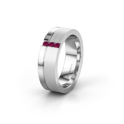 Wedding ring WH0327L16B 925 silver rhodolite ±6x2 mm