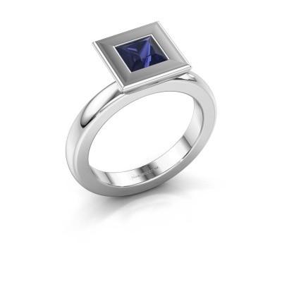 Foto van Stapelring Eloise Square 925 zilver saffier 5 mm