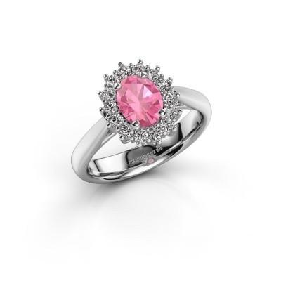 Foto van Verlovingsring Margien 1 585 witgoud roze saffier 7x5 mm