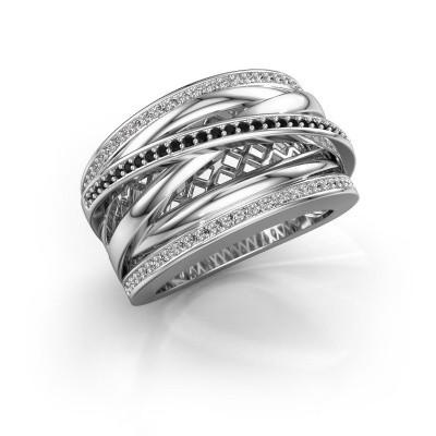 Foto van Ring Tabita 925 zilver zwarte diamant 0.432 crt