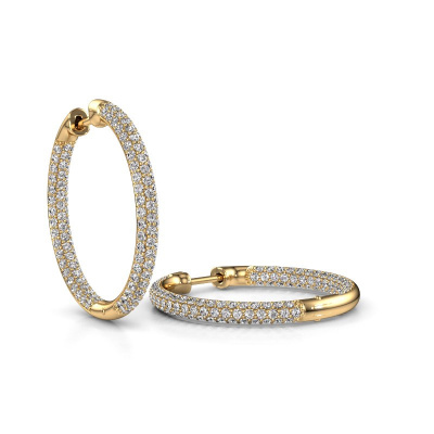 Foto van Creolen Lotje 20mm 585 goud diamant 1.635 crt
