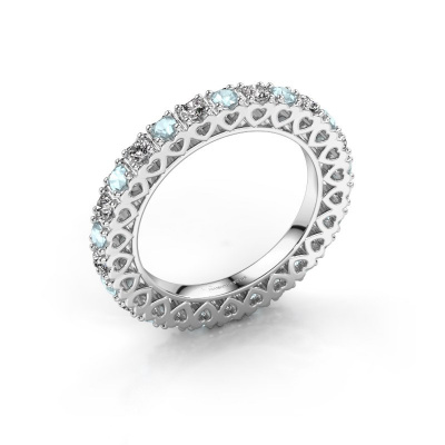 Stackable ring Hailey 585 white gold aquamarine 2.2 mm