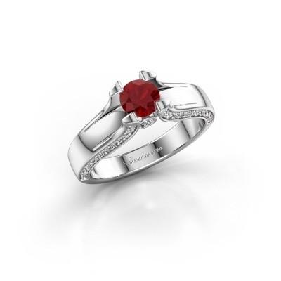 Bague de fiançailles Jeanne 1 585 or blanc rubis 5 mm