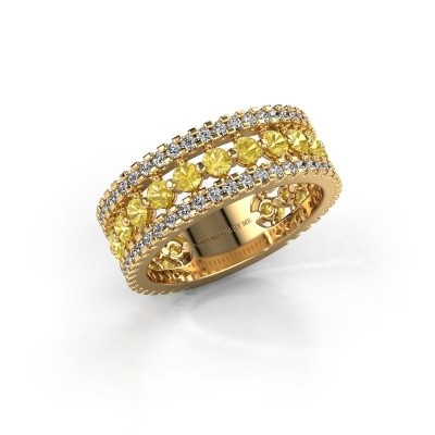 Verlovingsring Elizbeth 2 375 goud gele saffier 2.4 mm