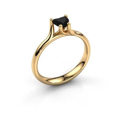 Verlobungsring Dewi Heart 375 Gold Schwarz Diamant 0.65 crt