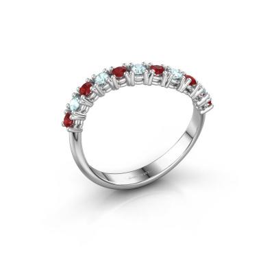 Ring Eliza 585 witgoud robijn 2 mm