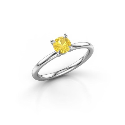Picture of Engagement ring Crystal RND 1 925 silver yellow sapphire 5 mm