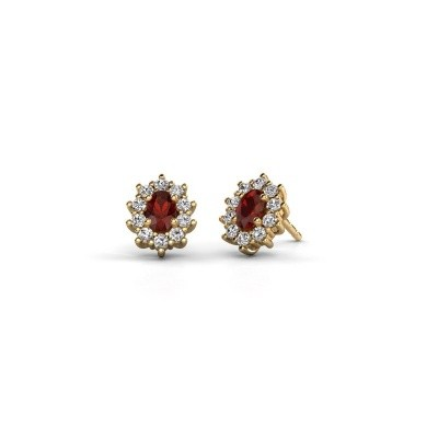 Picture of Earrings Leesa 375 gold garnet 6x4 mm
