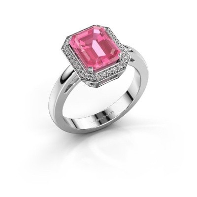 Foto van Verlovingsring Dodie 1 585 witgoud roze saffier 9x7 mm