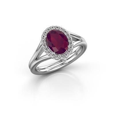 Engagement ring Rachele 1 585 white gold rhodolite 8x6 mm