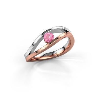 Foto van Aanzoeksring Sigrid 1 585 rosé goud roze saffier 3.7 mm