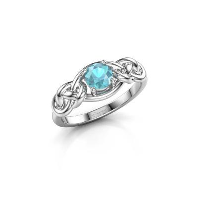 Foto van Ring Zoe 925 zilver blauw topaas 5 mm