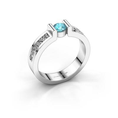 Verlovingsring Isabel 2 925 zilver blauw topaas 4 mm
