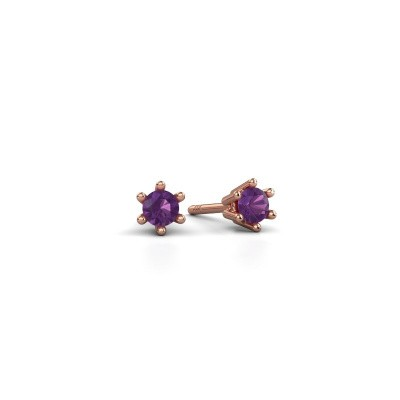 Picture of Earrings Fay 375 rose gold amethyst 3.4 mm