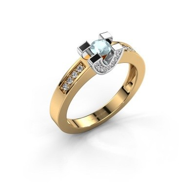 Verlovingsring Jasmijn 2 585 goud aquamarijn 4 mm