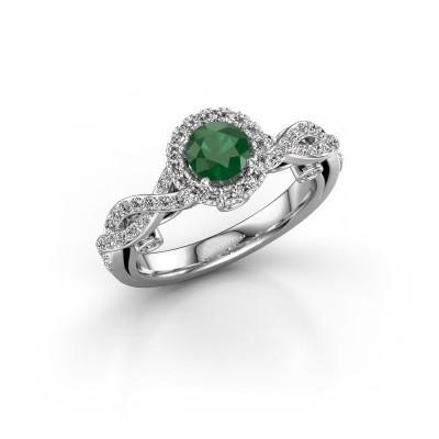 Foto van Verlovingsring Madeleine 585 witgoud smaragd 5 mm