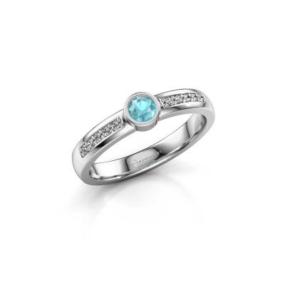 Engagement ring Ise 2 950 platinum blue topaz 3.7 mm