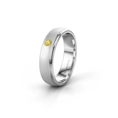 Trouwring WH0501L25AMP 925 zilver gele saffier ±5x1.7 mm