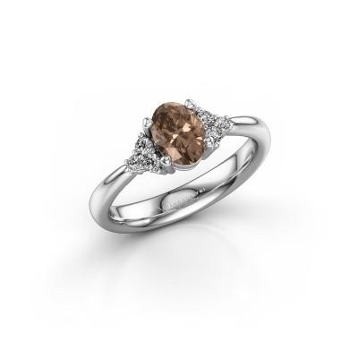 Foto van Verlovingsring Aleida OVL 1 585 witgoud bruine diamant 0.93 crt