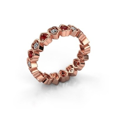 Stackable ring Pleun 375 rose gold ruby 2 mm