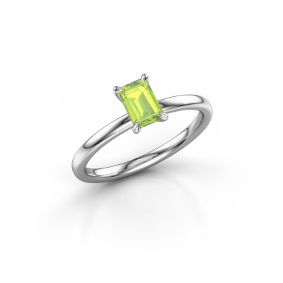 Picture of Engagement ring Crystal EME 1 950 platinum peridot 6x4 mm