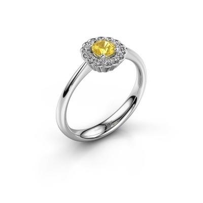 Verlovingsring Debi 925 zilver gele saffier 4.2 mm