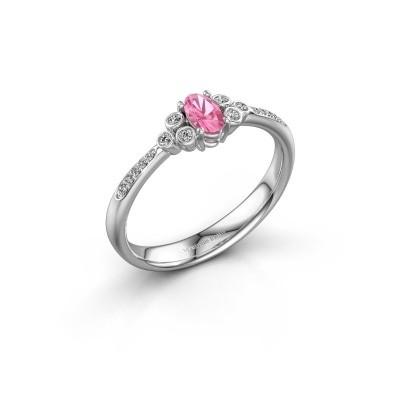 Verlobungsring Lucy 2 925 Silber Pink Saphir 7x5 mm