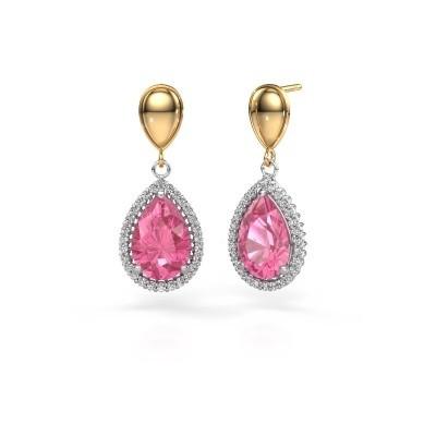 Ohrhänger Cheree 1 585 Weißgold Pink Saphir 12x8 mm