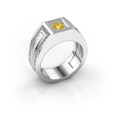 Foto van Heren ring Lando 585 witgoud gele saffier 4.7 mm