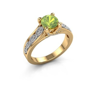 Engagement ring Clarine 585 gold peridot 6.5 mm