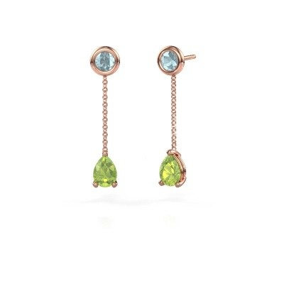 Picture of Drop earrings Laurie 3 375 rose gold peridot 7x5 mm