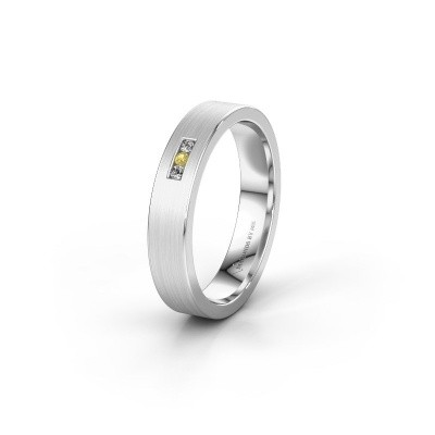 Wedding ring WH0106L14AM 585 white gold yellow sapphire ±4x1.7 mm