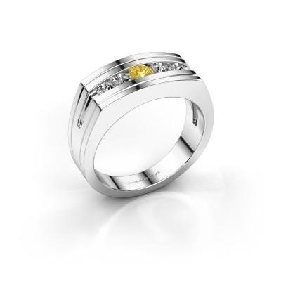 Foto van Heren ring Huub 585 witgoud gele saffier 3.7 mm