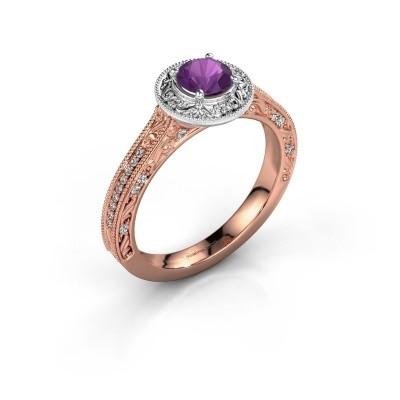 Verlovings ring Alice RND 585 rosé goud amethist 5 mm
